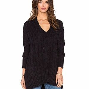 Free People Easy Cable Knit V Neck Black Sweater